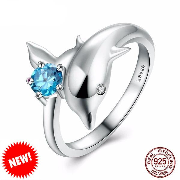 Sterling Silver Dolphins Ring