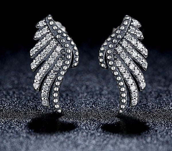 Sterling Silver Majestic Feathers Stud Earrings - CrumelsWorld