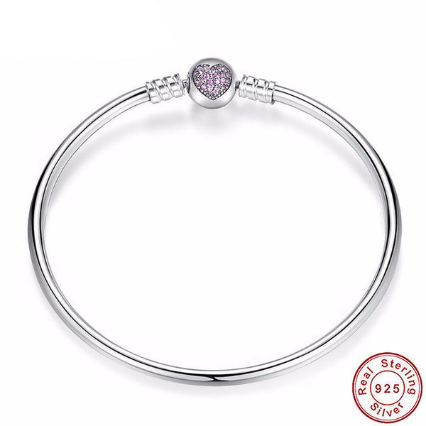 Sterling Silver Heart Charm Bangle - CrumelsWorld