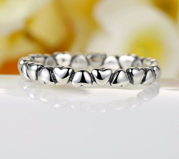 Sterling Silver Heart Stacking Ring - CrumelsWorld