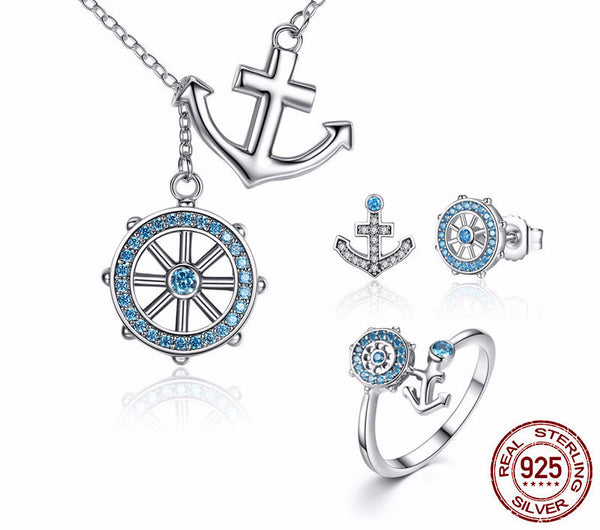 Sterling Silver Anchor & Rudder Set