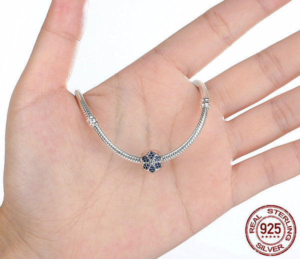 Sterling Silver Blue Flower Charm - CrumelsWorld