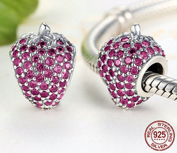 Sterling Silver Sparkling Strawberry Charm - CrumelsWorld