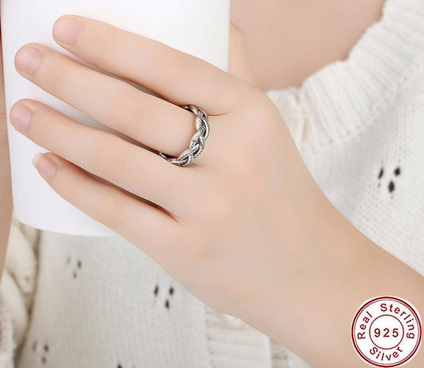 Sterling Silver Sparkling Braid Ring - CrumelsWorld