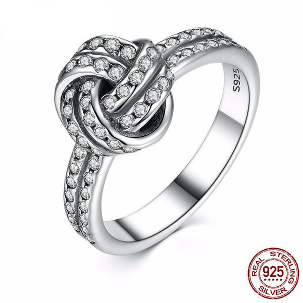 Sterling Silver Sparkling Love Knot Ring - CrumelsWorld