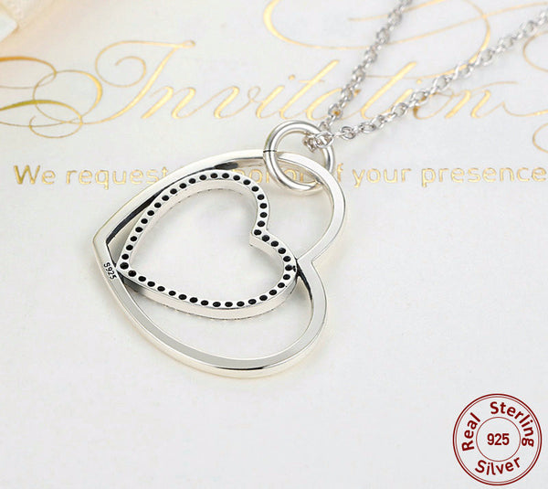 Sterling Silver Heart To Heart Pendant & Necklace - CrumelsWorld