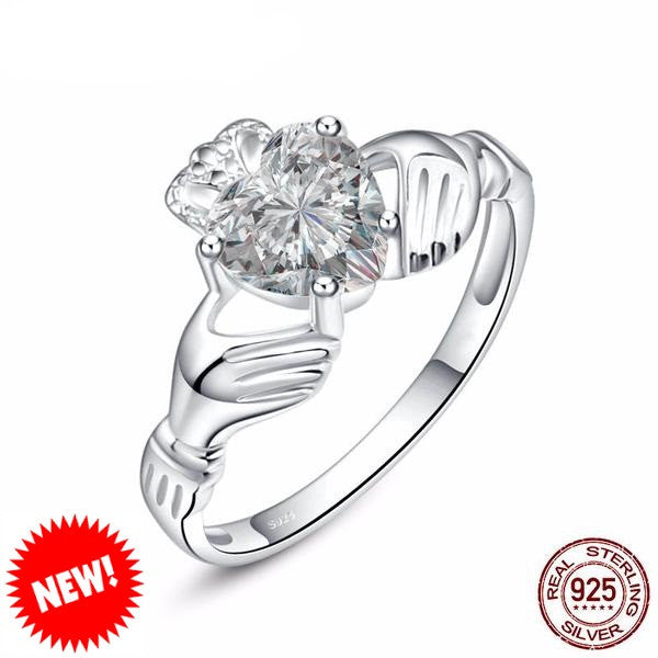 Sterling Silver Heart Hands Ring