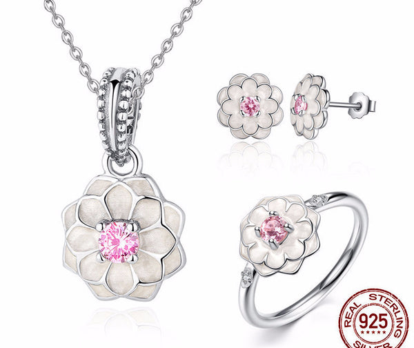 Sterling Silver Blooming Dahlia Set