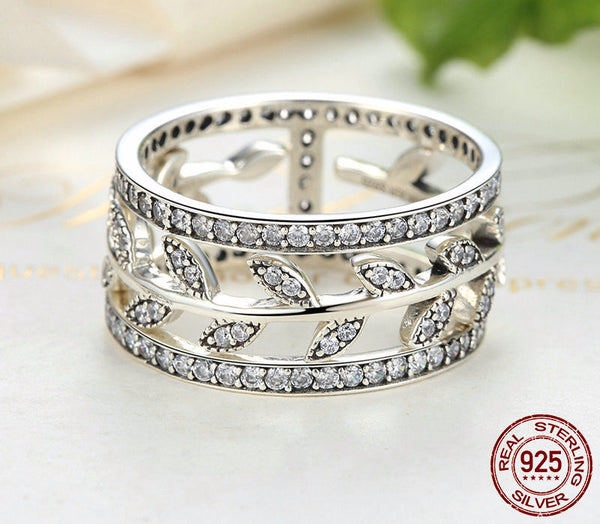 Sterling Silver Vivid Tree Leaves Ring - CrumelsWorld