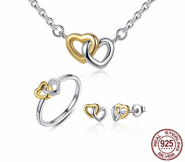 Sterling Silver Entwined Hearts Set