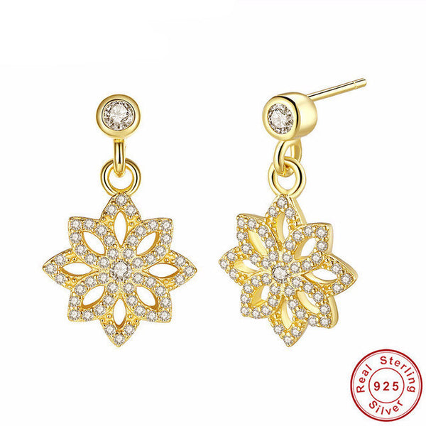 Sterling Silver Flower Drop Earrings - CrumelsWorld