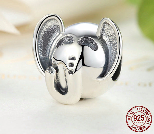 Sterling Silver Cute Elephant Charm - CrumelsWorld