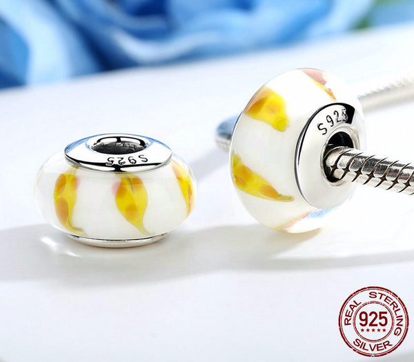 Sterling Silver Yellow & White Murano Glass Beads - CrumelsWorld