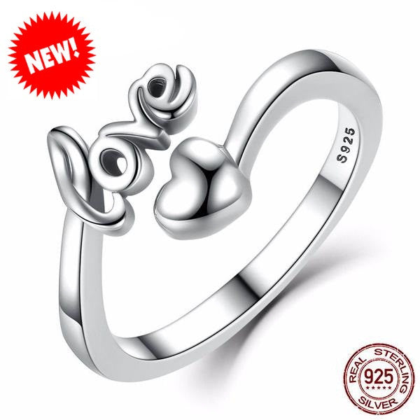 Sterling Silver Romantic Heart Ring