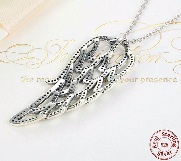 Sterling Silver Angel Wing Pendant & Necklace - CrumelsWorld
