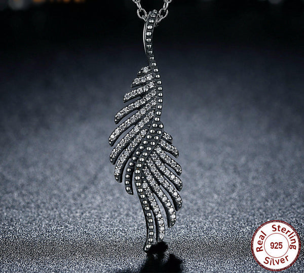 Sterling Silver Majestic Feathers Pendant & Necklace - CrumelsWorld