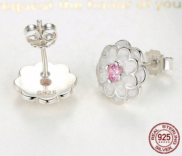 Sterling Silver Blooming Dahlia Stud Earrings - CrumelsWorld