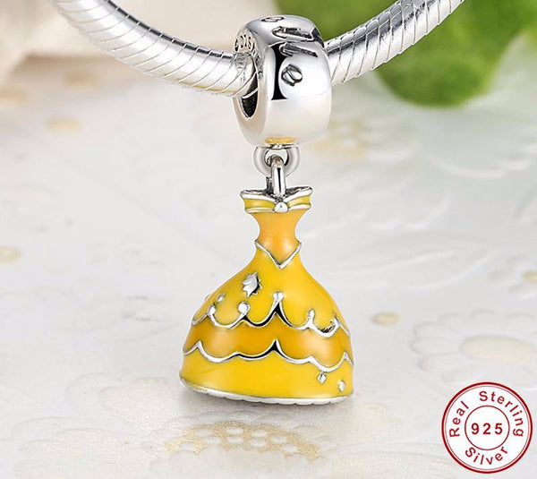 Sterling Silver Belle's Yellow Dress Charm - CrumelsWorld