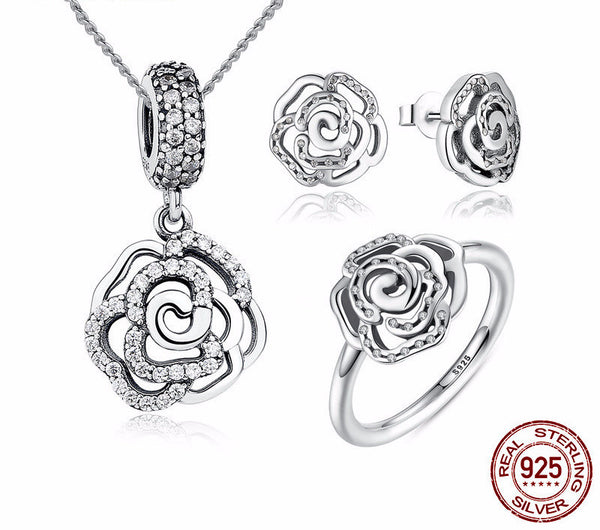 Sterling Silver Shimmering Rose Set - CrumelsWorld