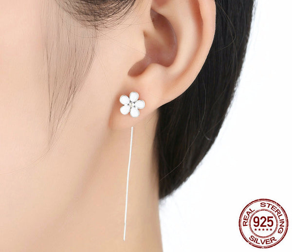 Sterling Silver Cherry Blossom Long Drop Earrings - CrumelsWorld