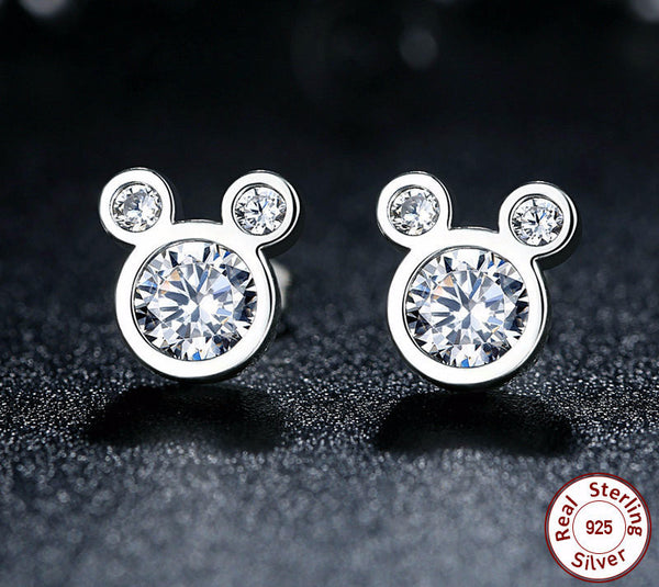 Sterling Silver Micky Mouse Stud Earrings - CrumelsWorld