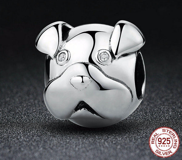 Sterling Silver Cute Dog Face Charm - CrumelsWorld