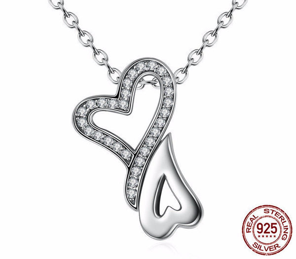 Sterling Silver 2 Hearts Pendant & Necklace - CrumelsWorld