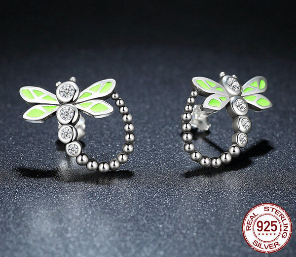 Sterling Silver Dragonfly Drop Earrings - CrumelsWorld