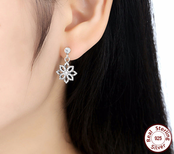 Sterling Silver Sparkling Flower Drop Earrings - CrumelsWorld