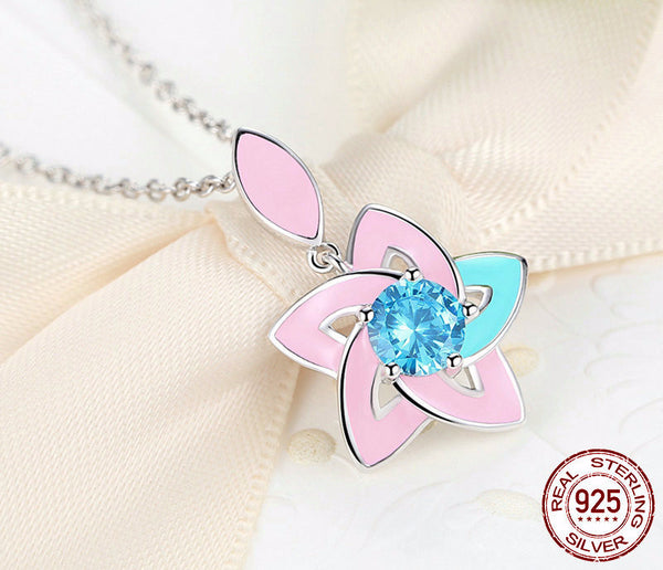 Sterling Silver Lily Flower Pendant & Necklace - CrumelsWorld