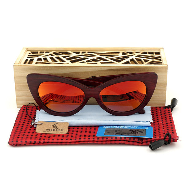 BOBO BIRD Red Sandal Wood Sunglasses - CrumelsWorld
