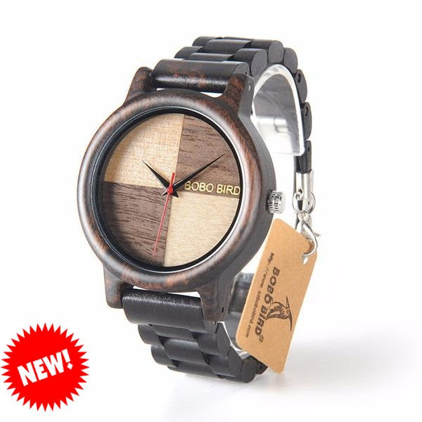 BOBO BIRD Black Sandal Wood Watch for Men - CrumelsWorld