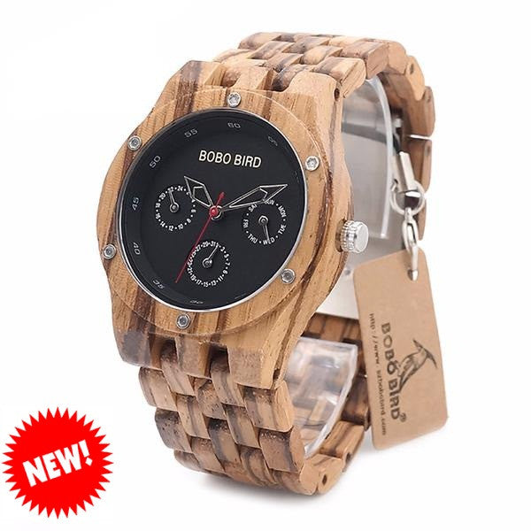 BOBO BIRD Zebra Wooden Watch for Men