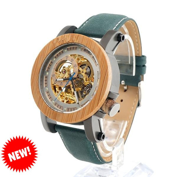 BOBO BIRD Auto Mechanical Wooden Watch for Men - CrumelsWorld