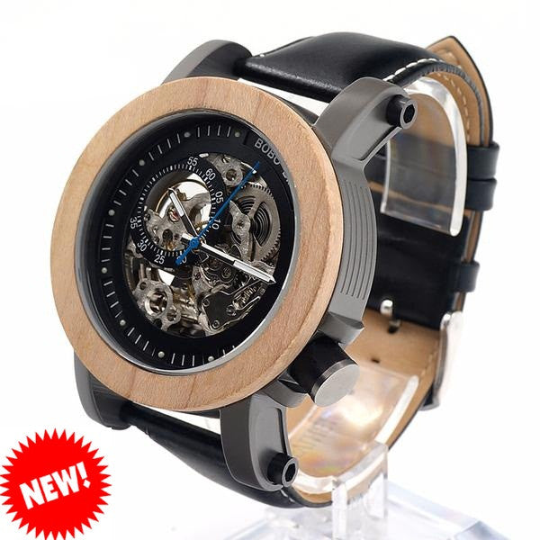 BOBO BIRD Auto Mechanical Bamboo Watch for Men - CrumelsWorld