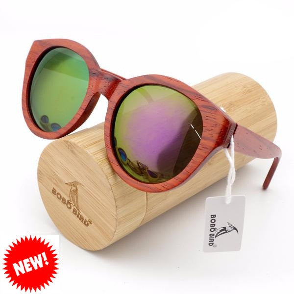 BOBO BIRD Red Sandal Wood Sunglasses for Women - CrumelsWorld