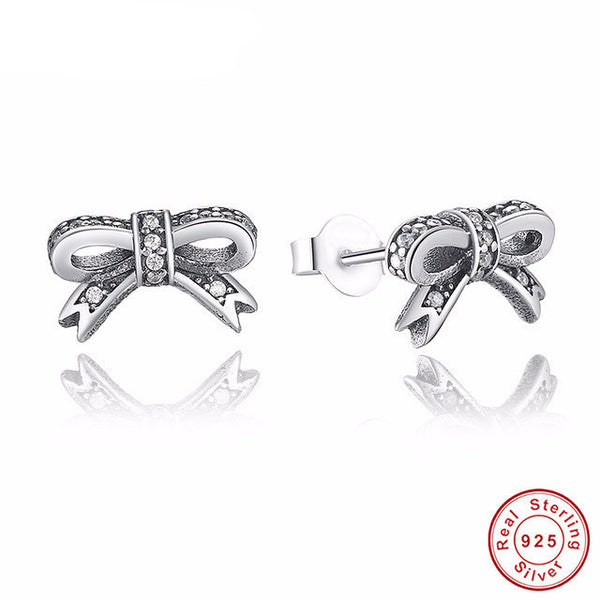 Sterling Silver Bowknot Stud Earrings - CrumelsWorld