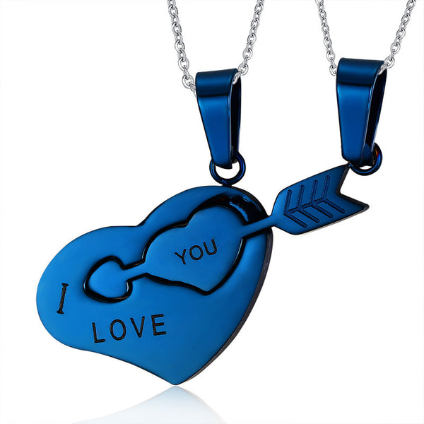 Stainless Steel Arrow & Heart Pendant & Necklace Set - CrumelsWorld