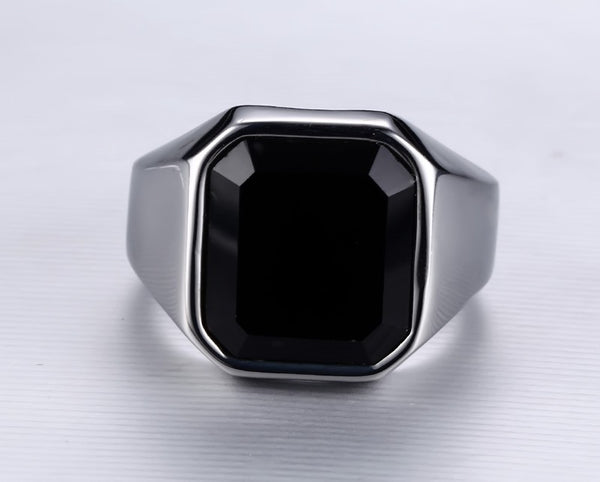 Stainless Steel Black Agate Ring - CrumelsWorld