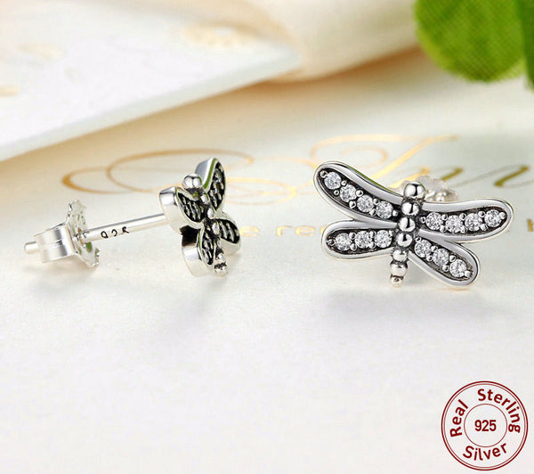 Sterling Silver Petite Dragonfly Stud Earrings - CrumelsWorld