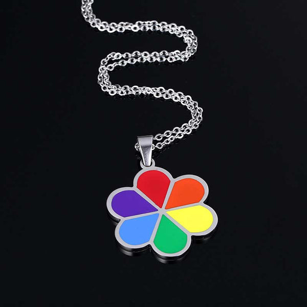 Stainless Steel Rainbow Pendant & Necklace - CrumelsWorld