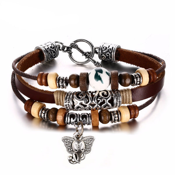 Stainless Steel Retro Leather Charms Bracelet - CrumelsWorld