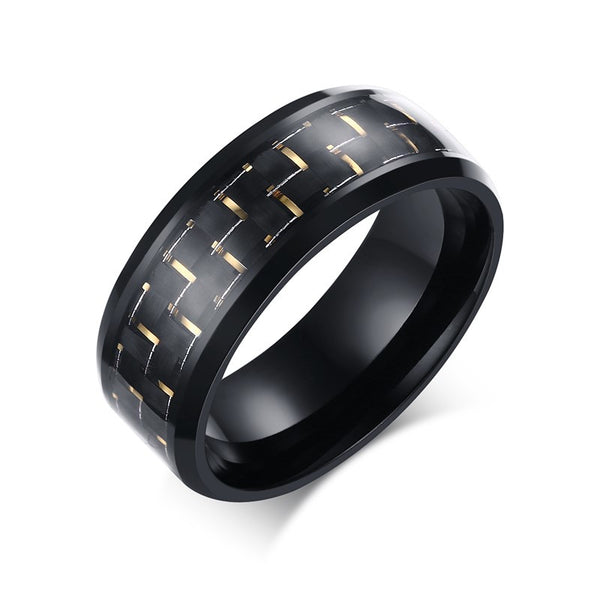 Stainless Steel Carbon Fiber Ring - CrumelsWorld