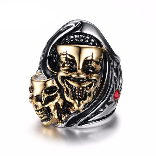 Stainless Steel Two Head Ghost Ring - CrumelsWorld