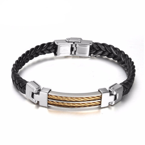 Stainless Steel Wire Leather Bracelet - CrumelsWorld