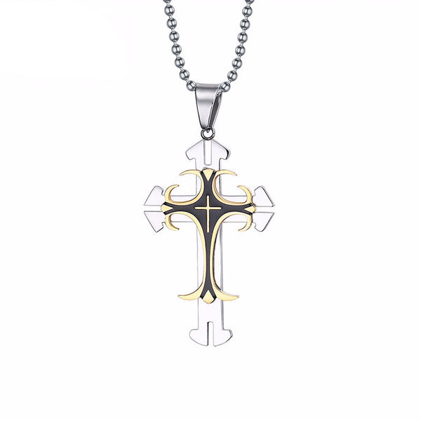 Stainless Steel Large Cross Pendant & Necklace - CrumelsWorld