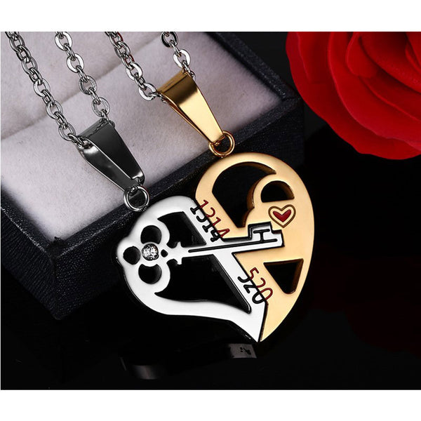 Stainless Steel Key & Lock Pendant & Necklace - CrumelsWorld