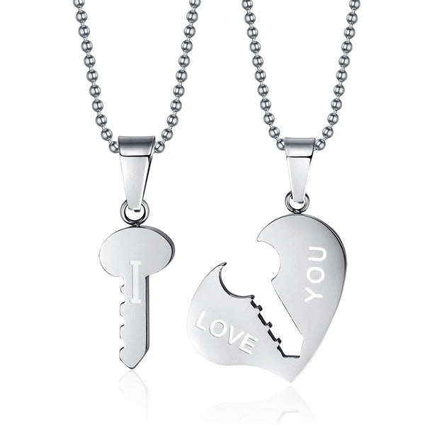 Stainless Steel Heart & Key Pendant & Necklace - CrumelsWorld