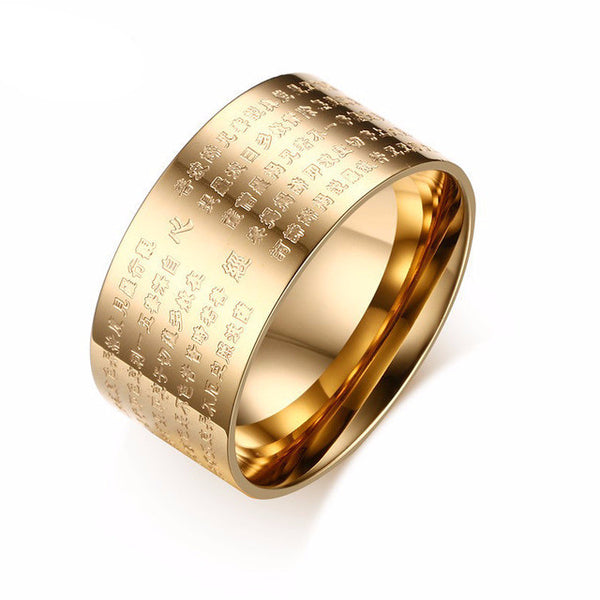 Stainless Steel Buddha Scripture Ring - CrumelsWorld