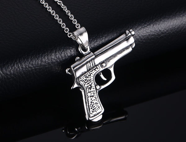 Stainless Steel Gun Pendant & Necklace - CrumelsWorld